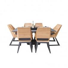 Комплект мебели с грилем-очагом Quan, на 6 персон, черный